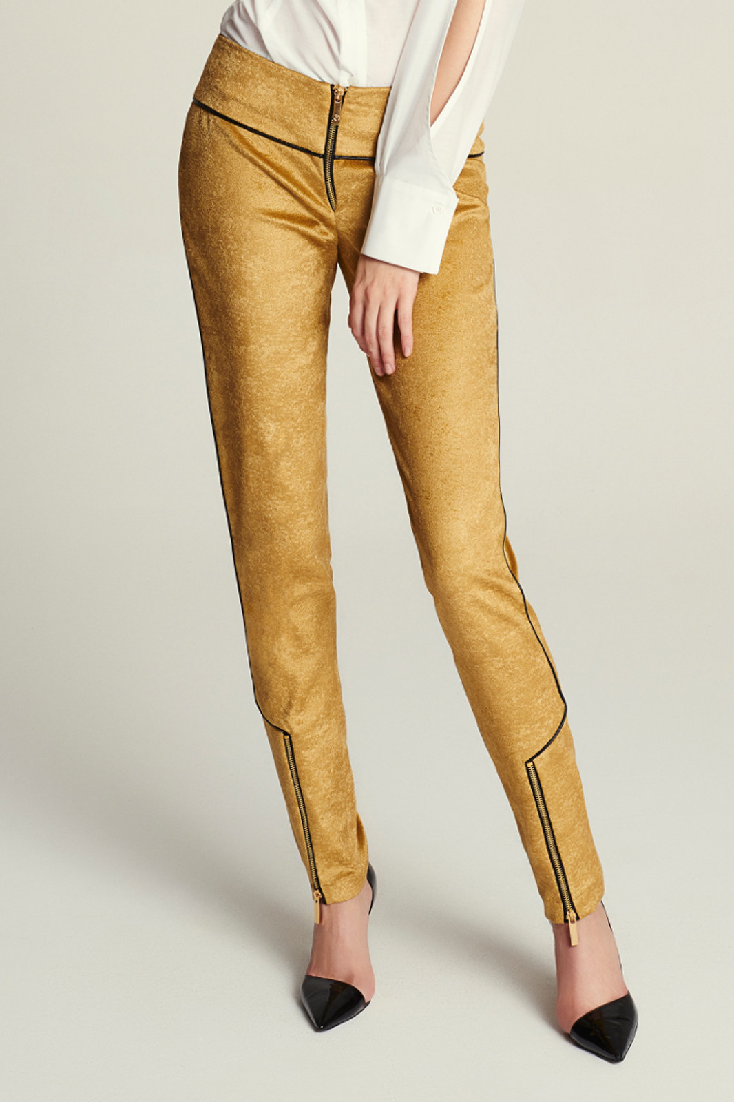 Złote spodnie z suwakami EVA MINGE